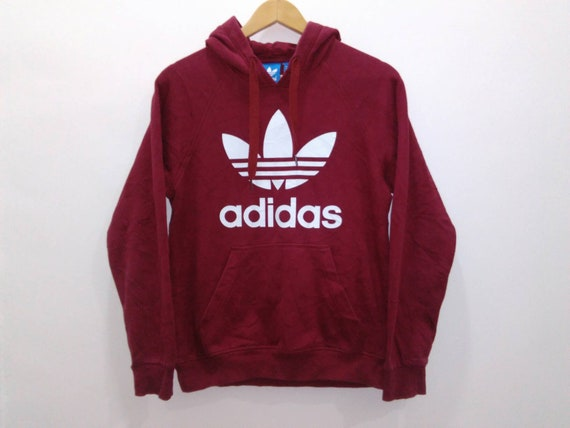 Vintage 90s Adidas hoodie sweatshirt jacket mens small red adidas sweatshirt big logo adidas 3 stripes