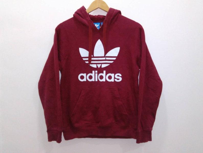762df6170190 Vintage 90s Adidas hoodie sweatshirt jacket mens small red