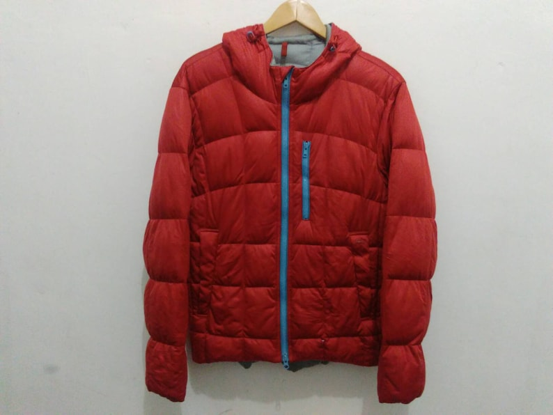 f5198a56bfb8 Lacoste down puffer jacket coat hooded men red quilted soft