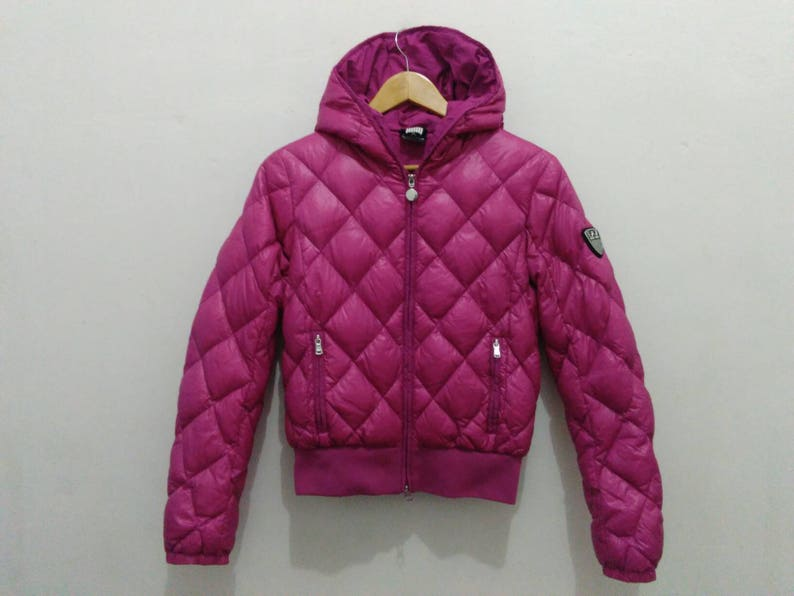 9b909fdc8 Emporio Armani EA7 down puffer jacket padding womens XS hooded ski wear red  pink winter coat