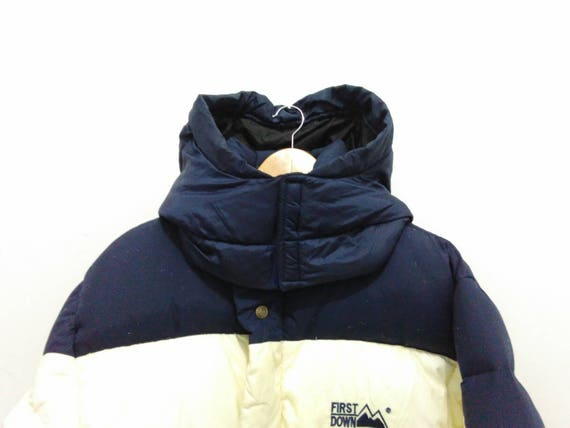 Vintage First Down colorblock down puffer jacket coat small hooded 90s first down long jacket blue/cream duck down u00hBKa
