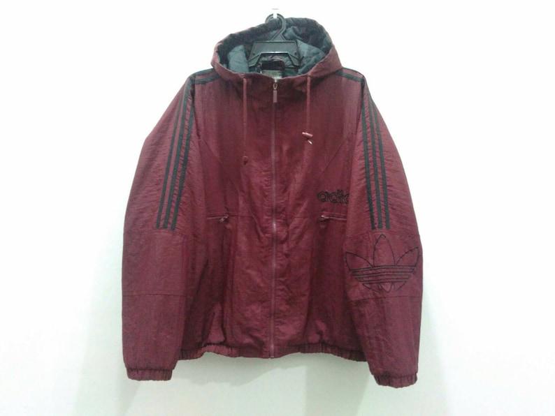 new product 326c7 5887c Vintage Adidas windbreaker jacket hooded mens large maroon   Etsy