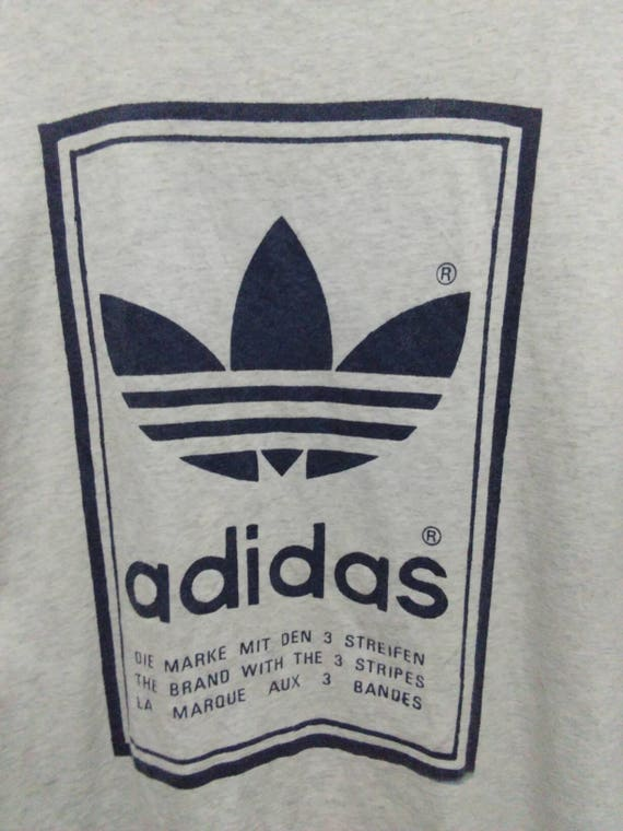 Vintage Adidas big logo shirt men white double sided logo adidas trefoil shirt