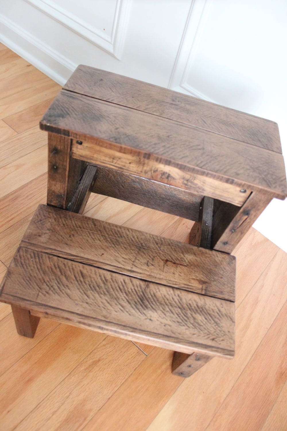 Reclaimed Rustic Wood Kids Step Stool Etsy
