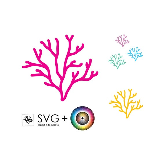 svg coral object clipart template graphic print sea etsy