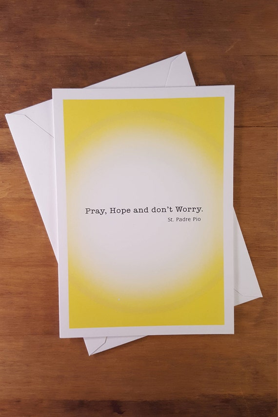 Pray Hope And Dont Worry Encouragement Card Saint Etsy