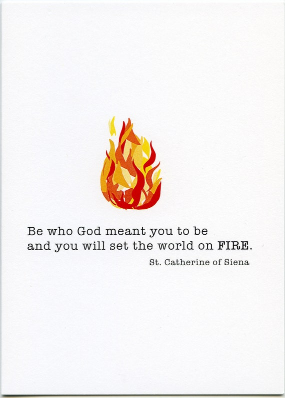 inspirational quote Be who God meant greeting card inspirational St Catherine of Siena graduation card Saint quote Encouragement card