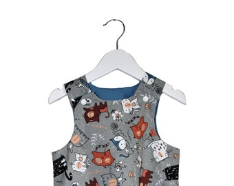 Cats, cats and more cats reversible a line pinafore dress