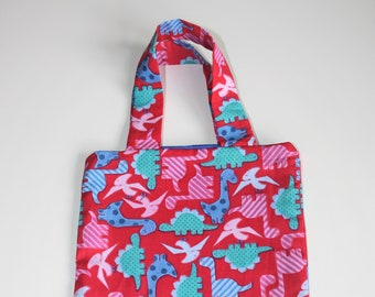 Small pink dinosaur tote bag, perfect for toddlers and little ones.