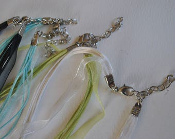 Ribbon and string necklaces, destash, jewelry supplies, variety of colors