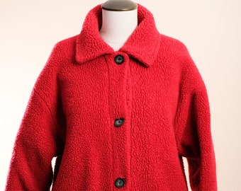 VINTAGE Red Furry Ski Jacket Thing