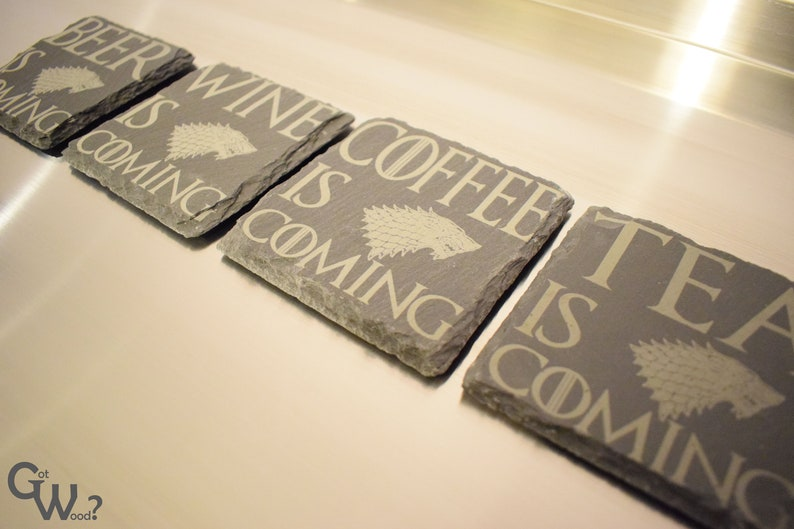 Choose from 8 designs Game of Thrones Inspired Engraved Slate Coasters