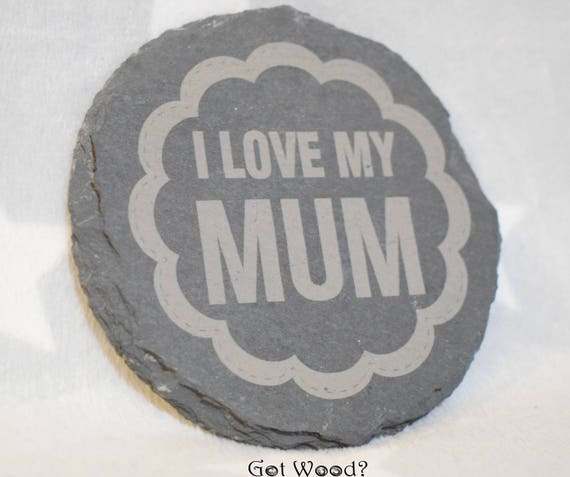 Best Mummy in the world square slate coaster Mothers Day keepsake gift engraved