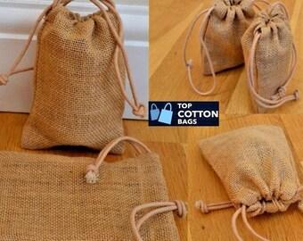 Natural Jute Bags Burlap Bags Hessian Hemp Drawstring Bags Pouch Wedding Favor Gift Burlap Packaging Bags Jewelry Party Recycle Bags(10Pack)