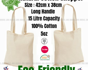 Plain Cotton Tote Bag. Shopping Bag. Tote Shopper Handbag. Ideal for Printing and Fabric Painting ( Pack of 10 Bags )