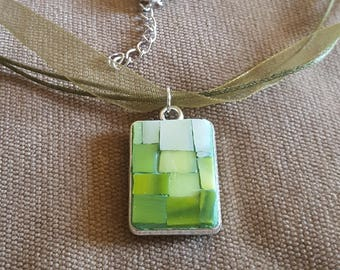 Jewelry Pendant mosaic: 2Faces 2; Jewelry Necklace Pendant rectangle; Jewelry Necklace Pendant mosaic stained glass; Pendant mosaic green