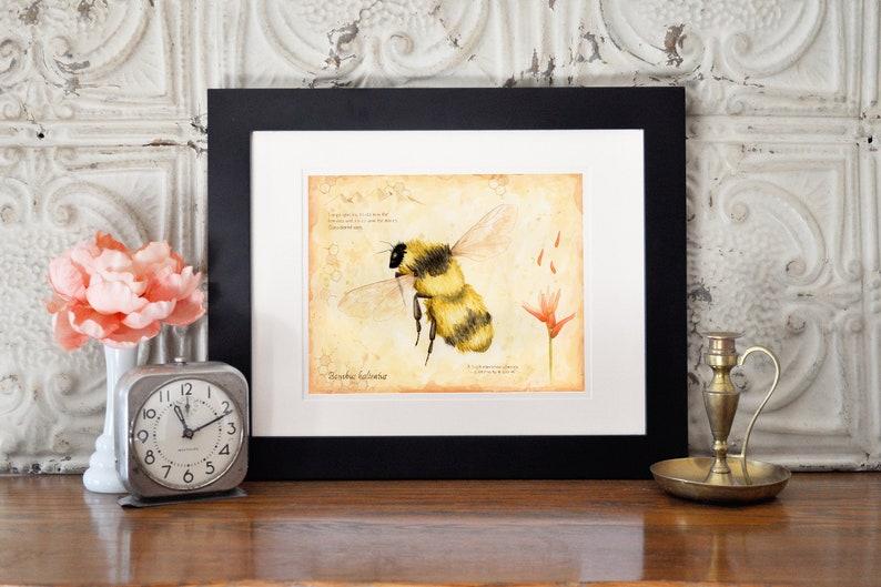 Save the Bees Garden Art Botanical Print Kitchen Wall Art image 0