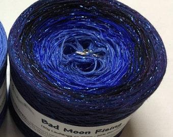 Bad Moon Rising - IN STOCK - 4ply fingering - Halloween Yarn - Glitter Gradient Yarn - Melodyy by Wolltraum - Blue Ombre - Blue Glitter Yarn