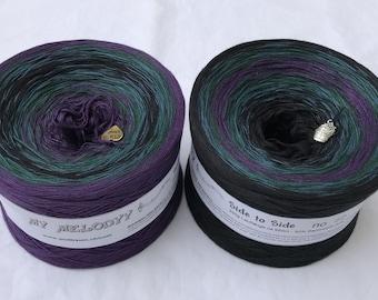 Side to Side 12 - Repeat Gradient Yarn - Mirrored Gradient Yarn - Black and Purple Yarn - Knitting Yarn - Wolltraum Yarn - Ombre Yarn - Yarn