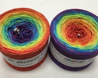 Madness 4 - Rainbow Yarn - Wolltraum - 3ply yarn - Gradient Yarn - Lace Weight Yarn - Unique Yarn - Cotton Yarn - Acrylic Yarn - Crazy Yarn