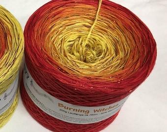 Burning Witches - IN STOCK - Halloween Yarn - Fire Yarn - Glitter Yarn - Cotton Blend - My Melodyy by Wolltraum - Sparkly Yarn - Ombre Yarn