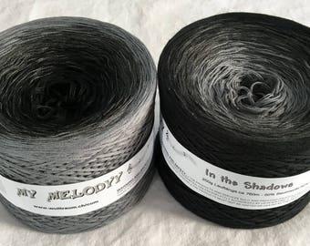 In The Shadows - Black Yarn - Gray Yarn - Wolltraum Yarn - Black Ombré Yarn - Gray Cotton Yarn - Gray Acrylic Yarn - Gray Ombre Yarn