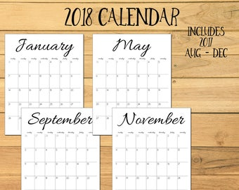2018 Monthly Calendar, 2017 Calendar, 2018 Printable Calendar, Simple Calendar, 2017 2018 Printable Desk Calendar, Simple Wall Calendar