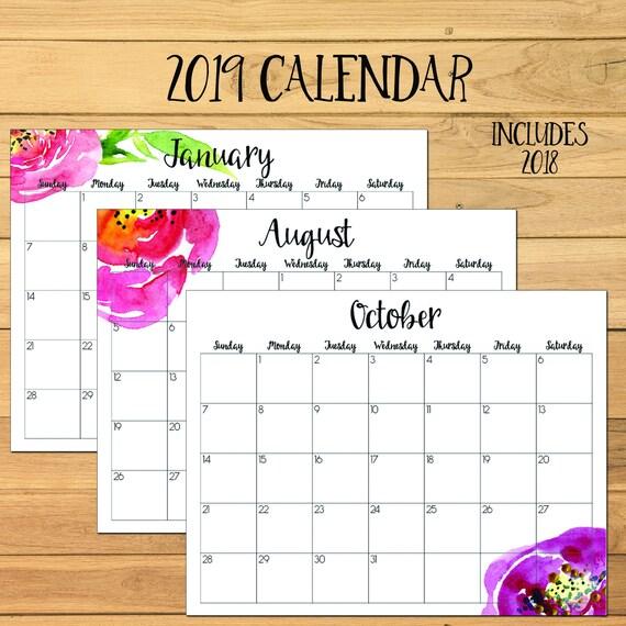 2019 Monthly Calendar 2019 Calendar 2018 Printable Calendar Etsy