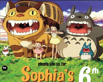 Totoro Invitation card, Totoro Birthday Invitation, Totoro Party, Totoro Anime Theme Party, Totoro Customized Invitation, Totoro Design