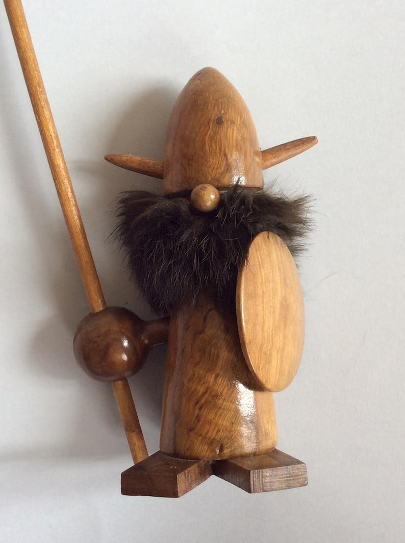 Fanny Vintage Wood Viking Figurine