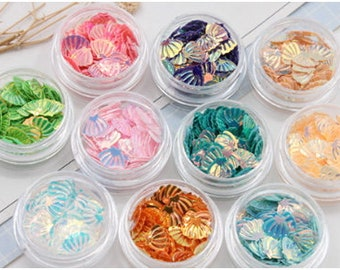 Shells Sequin Glitter Fake Toppings Micro Purple,Pink,Green,Blue Embellishment Multi Tone Iridescent Shimmering Sequin Shells, Micro Sequins