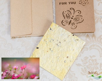 Seed paper card, bee flowers seed paper card, cut out butterfly just for you handmade seedpaper, eco friendly plantable gift kraft paper