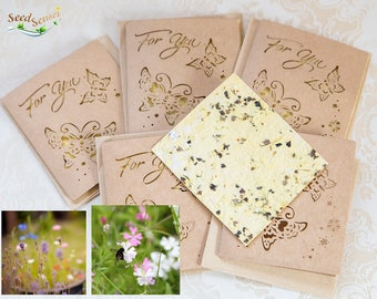 Seed paper card, save the bees flower seed paper card, yellow cut out butterflies handmade seedpaper eco friendly plantable gift kraft paper
