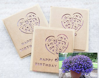 Seed paper birthday card, flower seed paper card, purple cut out card handmade lobelia seed paper, eco friendly plantable gift kraft paper