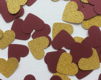 Burgundy and Gold Heart Shaped Table Confetti, Decorations, Party Decoration, Table Decorations, Weddings, Celebrations