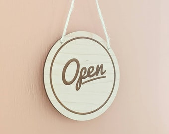 Wooden Open/Closed Sign - Open Sign - Laser Cut Open Sign - Shop Door Open/Closed Sign
