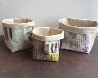 Printed linen fabric baskets bins organisers, Storage basket, Bathroom bascet, Storage bin, Toy box, Fabric containers, Home decor basket