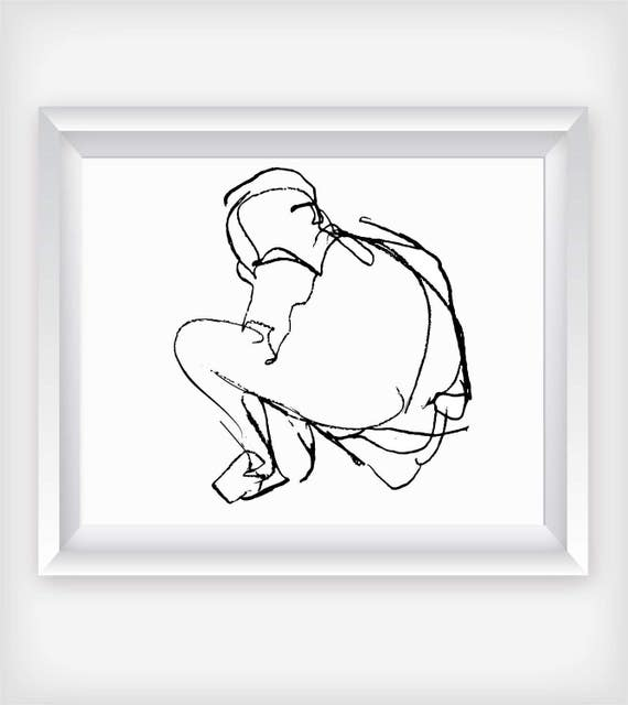 thinking sketch printable wall art figure drawing figure etsy Man Sitting Thinking image