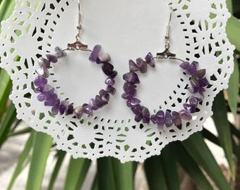 Amethyst /Garnet Hoop Earrings