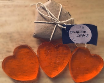 Set of 3: Heart of Soaps (May Chang and Orange)
