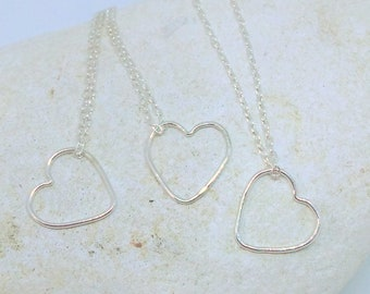 Floating heart sterling silver pendant, dainty, bridesmaid gift, simple, minimalistic