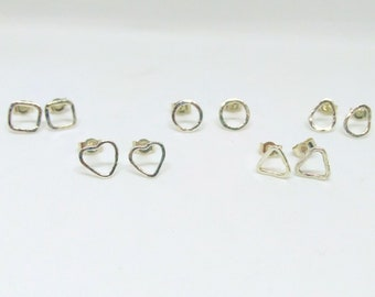 Geometric, hammered sterling silver studs: heart, circle, triangle, square or pear shaped