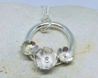 Hand fabricated sterling silver flower wreath necklace, daisy necklace