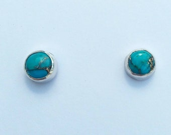 Turquoise and copper metrix sterling silver studs earrings