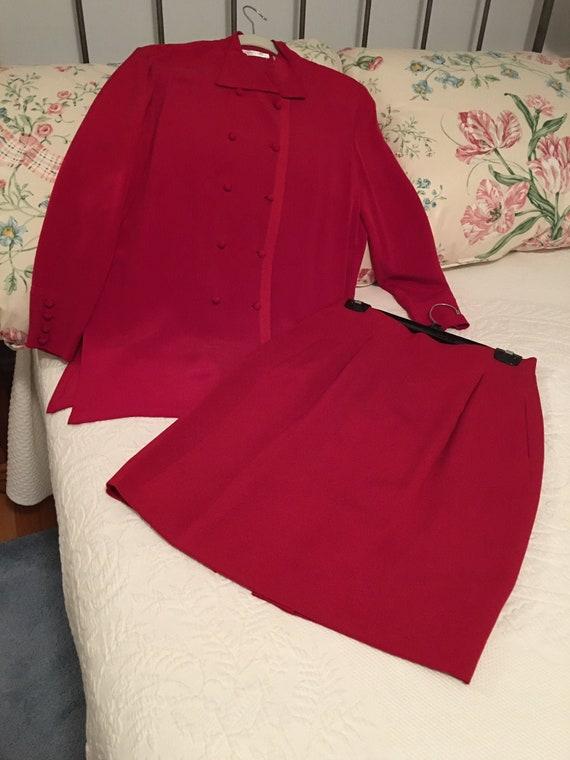 Ladies red silk suit