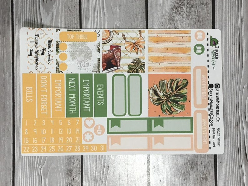 Happy Planner August Monthly Kit planner stickers with date covers washi checklist boxes appointment labels