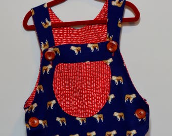 12 Month Bulldog Navy and Red Overalls / One Year Button Jonjon