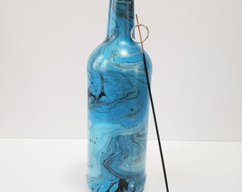 Blue, black and white swirl painted, hydro dipped, incense burner, glass bottle