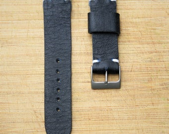 HORWEEN Parisan Blue Handmade Leather Watch Strap 20mm
