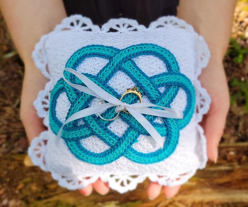 Ring Bearer Pillow Celtic Pillow Crochet Wedding Celtic image 1